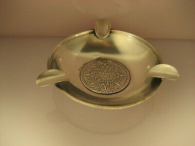 VTG 60s AZTEC CALENDAR ASHTRAY 925 SILVER MADE IN MEXICO MYAN