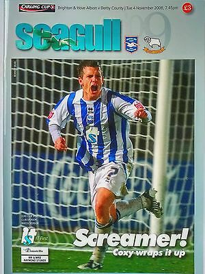 Brighton & Hove Albion v Derby County 4/11/2008 Carling Cup MINT. VERY RARE.