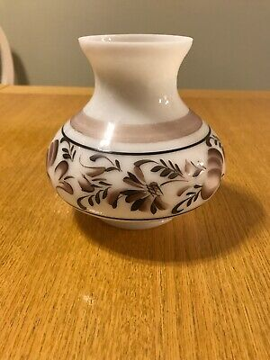 #C04C Vintage Glass Oil Lamp Shade Gone w/ the Wind Brown Hand-Painted