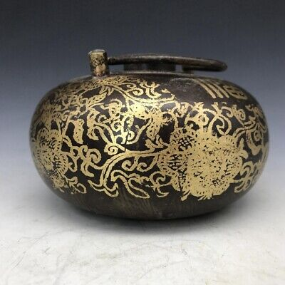 Exquisite Chinese hand carving brass pot ly216