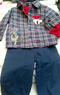 NWOT 3 PIECE SET PANTS OXFORD TSHIRT w/ DOG 6 9 MONTHS BOYS BABY PLAID BLUE RED