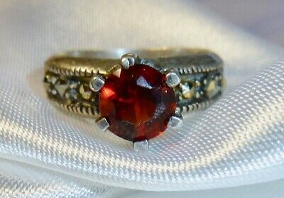 Vintage - Stunning 925 Sterling Silver, Marcasite & Red Stone Ring - Ladies 6