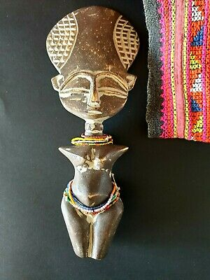 Old African Carved Wooden Fertility Doll with Beaded Skirt & Necklace …beautiful