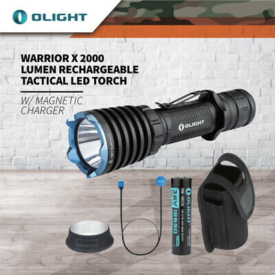 Olight Warrior X 2000 Lumen Rechargeable Tactical LED Torch w Magnetic Charger