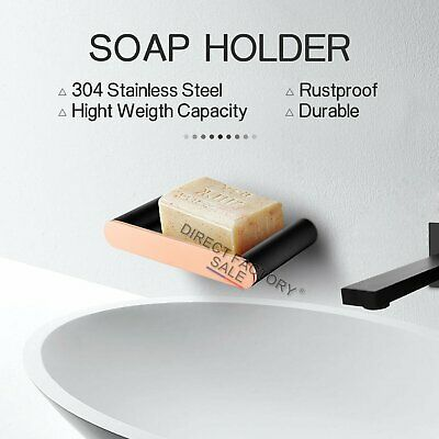 Bathroom Wall Mount Bath Basin Shower Stainless Steel Soap Dish Holder Black