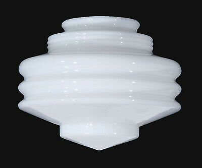 "4"" Fitter ~ ART DECO STACKED DISC ~ Opal Glass Pendant Light Shade"