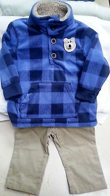 New Boys Blue Fleece Jacket Pants Set Outfit 6 9 18 Months Baby Infant Toddler