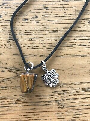 Tigers eye natural stone with green man neckalce