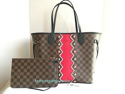 a2a167b6b5aed Auth New Louis Vuitton Karakoram Red Neverfull MM Monogram Damier Ebene 2018