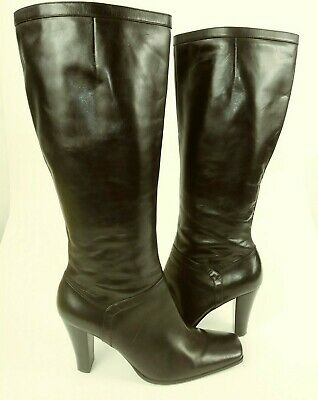 af276201d30a Nine West CALLANO Wos Boots Tall US 8 M Black Leather Square Toe Heels 1106