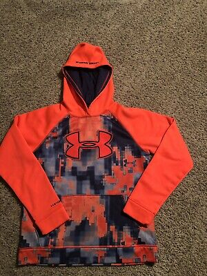 Boys Under Armour Digital City Big Logo Hoodie Size YLG - Youth Large. Orange