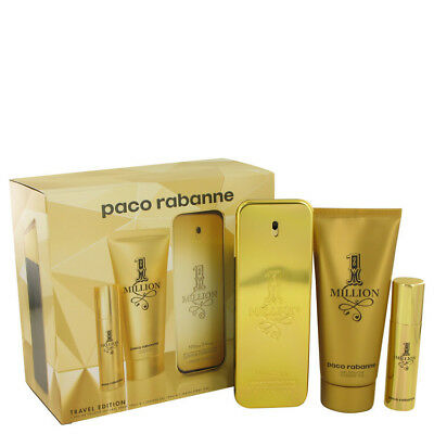 Paco Rabanne 1 Million 3.4 Oz EDT Spray + Shower Gel + Mini Spray 3 pcs Gift Set