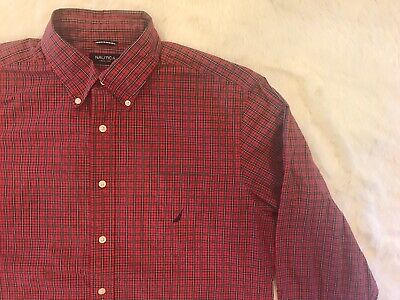 3880e95d8 Vintage 90s NAUTICA button down Shirt Embroidered Logo Pocket Mens XL red  blue