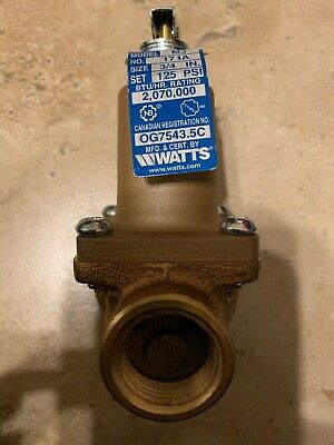 "Watts Pressure Safety Relief Valve 3/4"" 174A-125"