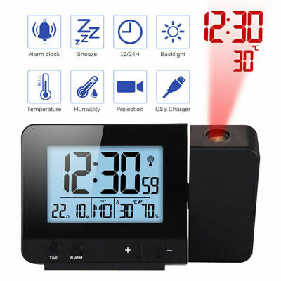 Digital LED Projection Clock Time Thermometer Snooze Alarm Calendar LCDBacklight