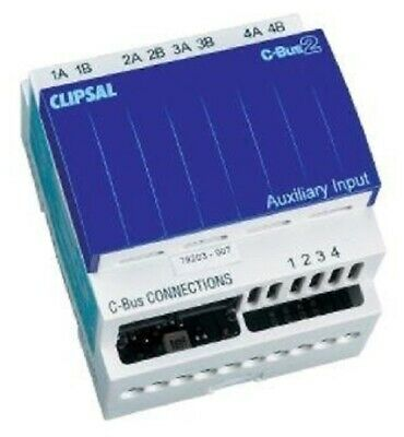 Clipsal C-BUS AUXILIARY INPUT UNIT 18mA 4-Channel, DIN Rail Mount, Learn Enabled