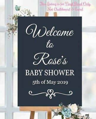 Custom Welcome To Name Baby Shower Sign Vinyl Decal Blackboard Mirror(897)