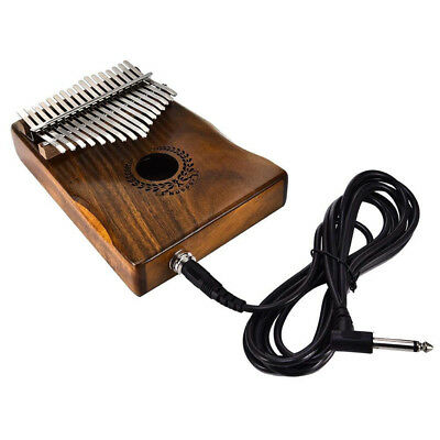 17 Keys EQ Kalimba Solid Acacia Thumb Piano Link Speaker Electric Pickup