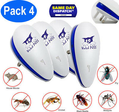 Ultrasonic Pest Repeller Control Reject Mosquito Rodent Insect Bed UK Plug In