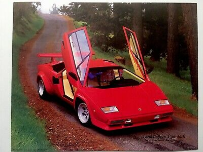 1985 RED LAMBORGHINI Countach Poster Impact Images Art Print