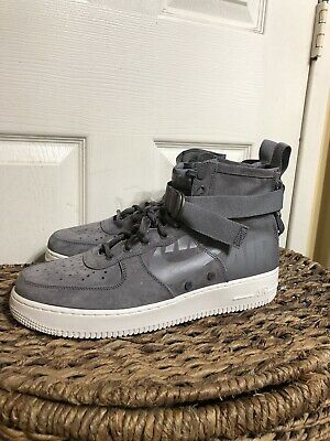 outlet store 3feaf 08506 NIKE SF AIR Force 1 Mid Men Gunsmoke Wolf Grey Sneakers 917753-007 SIZE 12