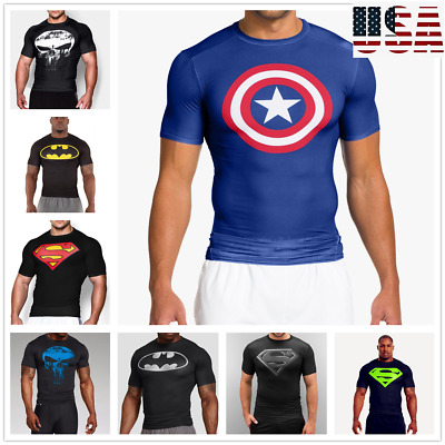 Mens Compression T-shirt Running Sports Gym Fitness 3D Print Trainning Clothing
