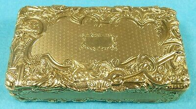 Magnificent French 18ct 2 Colour Gold Box Fine Chased Engine Turned Paris C1840