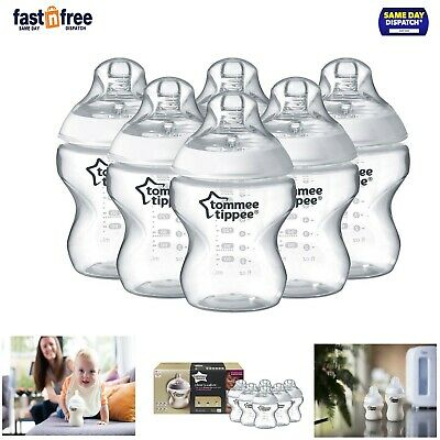6 x Tommee Tippee Baby Feeding Bottles Closer To Nature Clear 260ml Pack 0m+ Set