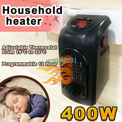 400W 220-240V Mini Space Heater Portable Plug-in Electric Wall-outlet Furnace