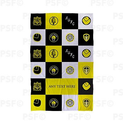 Leeds United FC Official Personalised Black Check Squares Beach Towel LBT020