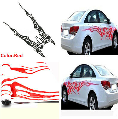 New Stylish Car Body Side Decal Vinyl Red Flame Graphics Racing Stripes Sticker