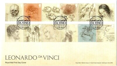 2019 GB FDC Leonardo Da Vinci  FIRST DAY COVER 13/02/2019