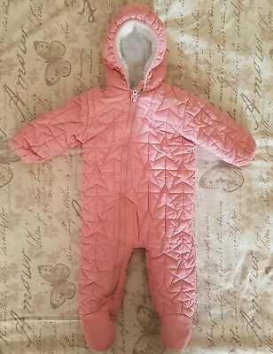 89092d3d32fa BABY GIRLS SNOWSUIT- 9-12 Months- Next- Pink - Lined - Hooded ...