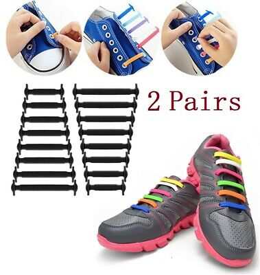 2X 16Pcs Easy No Tie Rubber Shoe Laces Colored Shoelaces Trainer Snickers Adult