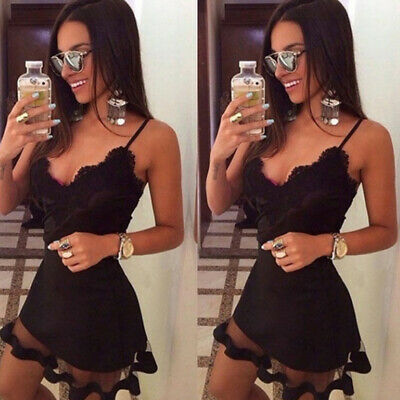 Women Sexy Sling Lace Stitching V Neck Mesh See-Through Party Mini Dress ONE
