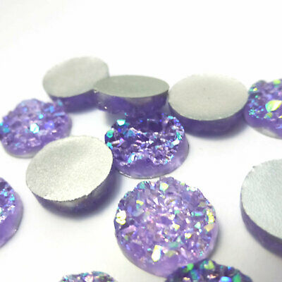 10 x Pink Reflections AB Druzy 11.5 - 12mm Cabochon Perfect for Earrings