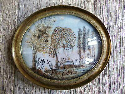 SUPERB ANTIQUE FRENCH OVAL SENTIMENTAL MOURNING HAIR ART w. TOMB 1850's