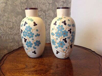Beautiful Large Pair Of Victorian Glass Vases