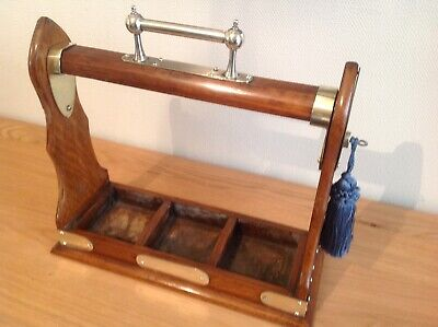 Antique Edwardian Oak Cased Tantalus Complete With Working Lock And Key.