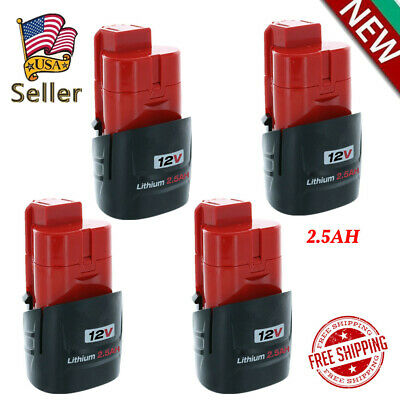 4X 2.5AH For Milwaukee 48-11-2420 M12 12V Lithium-Ion Compact Battery 48-11-2401