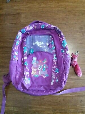 Smiggle scented purple glitter woodland rucksack / backpack . Good condition.
