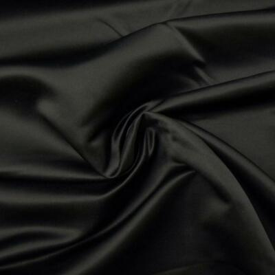 BLACK Duchess Satin Silky Polyester Bridal Fabric material sold metre 150cm