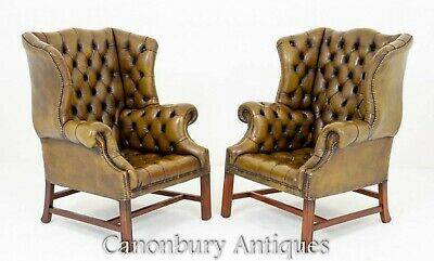 Awesome Pair Of Ethan Allen Leather Wingback Chairs 1 495 00 Short Links Chair Design For Home Short Linksinfo