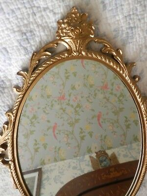 Vintage French style Mirror Ornate Oval Metal Frame Wall Mirror