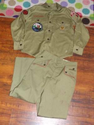 Vintage Green BOY SCOUT Official Uniform L/S SHIRT & PANTS with SOME Patches