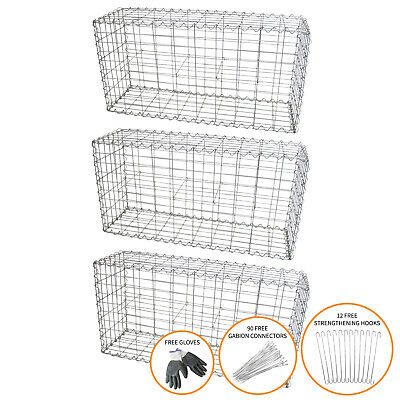 Gabion Baskets Garden Outdoor Cages Mesh Wire Stone  / 100 x 50 x 30cm / 3 Pack