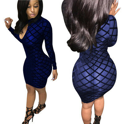 Ladies Mock Neck Keyhole Bodycon Long Sleeve Polyester Cocktail Party Dress N7
