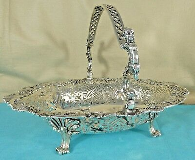 Georgian Sterling Silver Swing Handle Basket Men Vine Grape Thomas Heming 1759