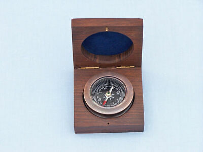 Paperweight Compass with Rosewood Box Nautical Decor Ship Boat Antique Copper 3""