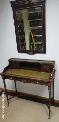 219- Old And Exclusive Desktop-Secreter Style Frances With Mirror To Set